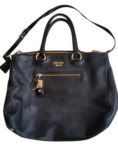 Prada Leather Pink Tote Crossbody Satchel in Black