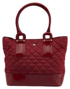 Burberry Quilted Patent Leather Tote in Red