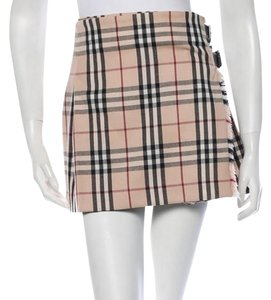 Burberry Wool Pleated Nova Check Plaid Wrap Mini Skirt Beige, Black