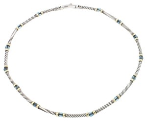 David Yurman David Yurman Cable Choker in 925 Sterling Silver and 14k Yellow Gold with Blue Topaz Length 15