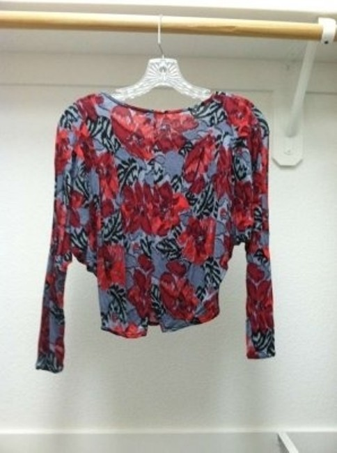 Free People Multi Floral Cropped Print Top Red/Grey