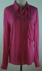 Gap Shirt Oversized Half Button Roll Sleeves Top Pink