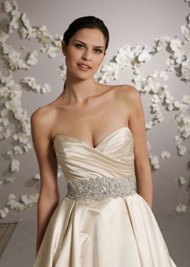 Lazaro Ivory Silk 3018 Formal Wedding Dress Size 12 (L)