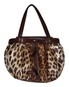 Moschino Leopard Print Leather Trim Satchel in brown