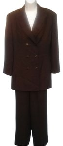 Liz Claiborne Liz Claiborne Collection Brown Lined Double Breasted Pants Suit