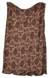 Michael Kors Paisley 100% Silk Flowy Skirt Brown & Beige