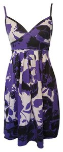 American Eagle Outfitters short dress Purple, Black & White Floral Spaghetti Straps Empire Waist V-neck on Tradesy