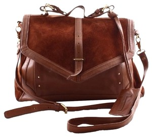 Tory Burch Suede Leather Satchel in Brown