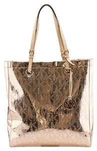 Michael Kors Jet Set Monogram Tote in Gold