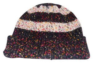 924eb6321ef Urban Outfitters Urban Outfitters BDG Knit Crochet Black Stripe Speckle  Slouched Wool Blend Beanie Hat