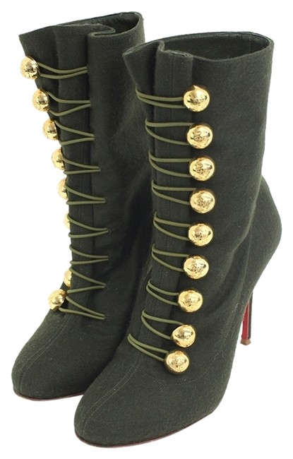 Item - Green Ronfifi 100 Mm Buttoned Flannel Boots/Booties Size US 6