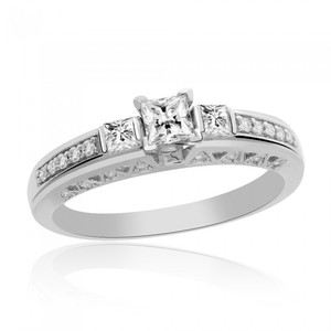 Avital & Co Jewelry 0.50 Carat G-si1 Natural Princess Cut Diamond Engagement Ring 14k White Gold