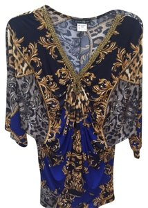 My Story Versace Style Drape Baroque Gold Trim Raglan Sleeves Tunic