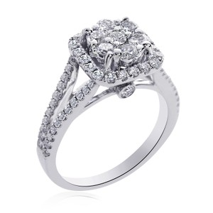 Avital & Co Jewelry 1.25 Carat G-si1 Round Cut Diamond Cluster Split Shank Engagement Ring 14k