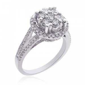 Avital & Co Jewelry 1.35 Carat G-si1 Round Cut Diamond Cluster Split Shank Engagement Ring 14k