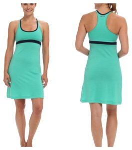 Icebreaker short dress green and navy Scoop Neck Racer Back Travels Merino Wool on Tradesy
