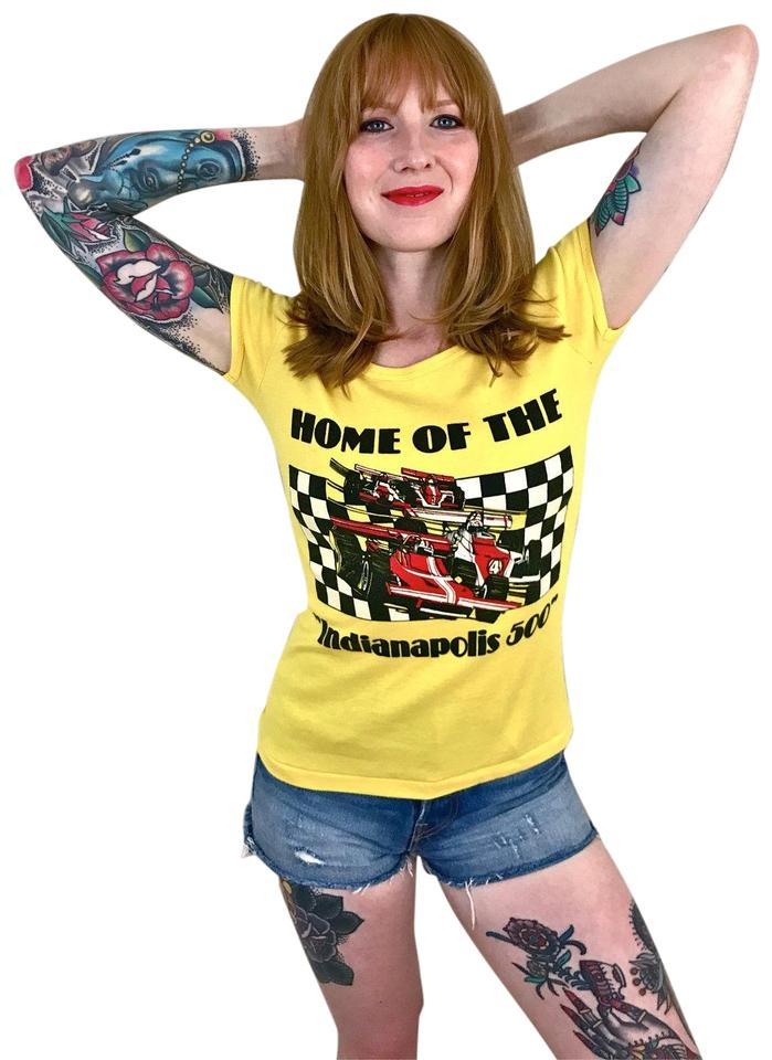 9fefbcbc3f2c3 Yellow Vintage 70s 80s Indianapolis 500 Indy 500 Formula 1 Babydoll Tee  Shirt Size 4 (S) 68% off retail
