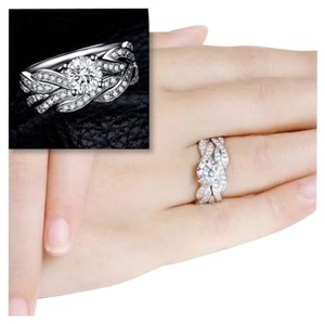 New 2PC White CZ 10K White Gold Filled Wedding Engagement Ring Set Sz 6