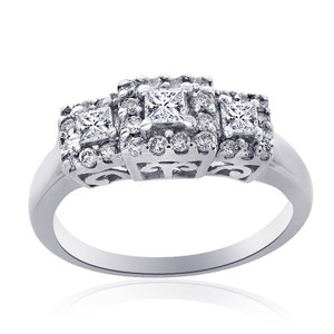 Avital & Co Jewelry 0.62 Carat G-si1 Princess Diamond Halo Three Stone Engagement 14k Whit