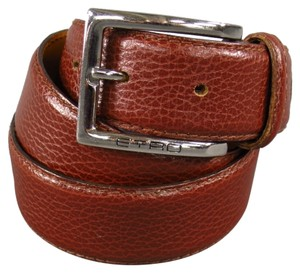 Etro ETRO Rich Brown Leather Engraved Silver Rectangle Buckle Belt