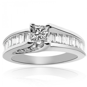 Avital & Co Jewelry 1.10 Carat G-si1 Natural Princess Cut Diamond Engagement Ring 14k White Gold