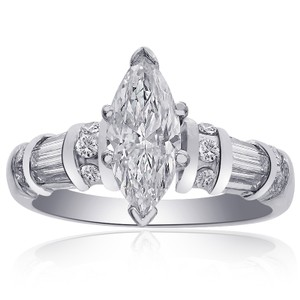 Avital & Co Jewelry 1.45 Carat G-si1 Natural Marquise Cut Diamond Engagement Ring 14k White Gold