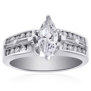 Avital & Co Jewelry 1.30 Carat E-vs1 Natural Marquise Cut Diamond Engagement Ring 14k Wg