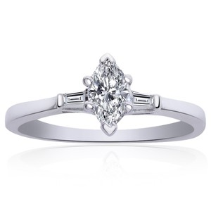 Avital & Co Jewelry 0.55ct H-si1 Marquise Brilliant Shape Diamond Engagement Ring 18k Wg