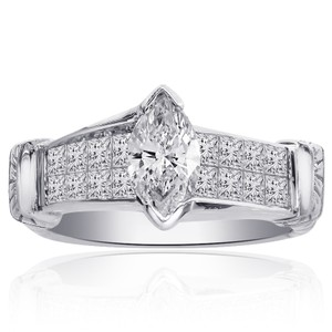 Avital & Co Jewelry 2.00 Carat H-vs2 Natural Marquise Shape Diamond Engagement Ring 18k Wh