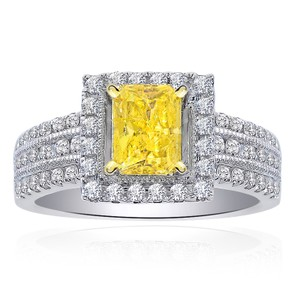 Avital & Co Jewelry 1.30 Carat Diamond Engagement Ring Fancy Intense Yellow Radiant Cut In 14k White Gold