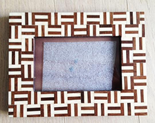 Anthropologie Anthropologie Meraj Imports Bone Frame (4x6) Picture Photo Natural Bone Tile Modern Glass Gift