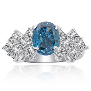 Avital & Co Jewelry 2.75 Carat Diamond Engagement Ring Fancy Blue Oval Cut In 14k White Gold