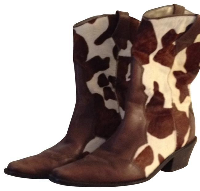 Item - Multi Brown Cowboy Style Leather and Hide Boots/Booties Size US 7