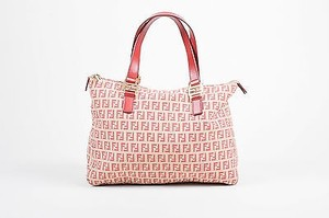 Fendi Beige And Gold Tone Tote in Red