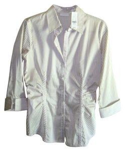 New York & Company & Size M Stretch 3/4 Sleves With Tags Button Down Shirt shiny gold and white