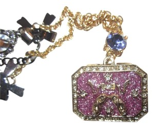 Betsey Johnson Authentic Long Necklace Ballet Dancer Charm Enamel Jewel Box & Mirror with Crystals