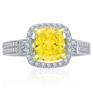 Avital & Co Jewelry 2.37 Carat Diamond Engagement Ring Fancy Intense Yellow Radiant Cut In 14k White Gold