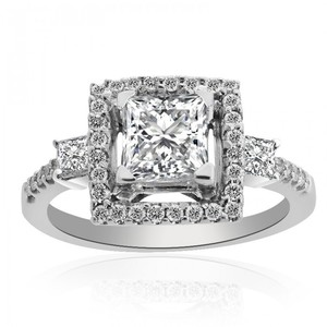 Avital & Co Jewelry 1.57 Carat G-vs2 Princess Cut Diamond Halo Engagement Ring 14k White Gold