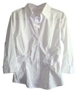 New York & Company & Size M Stretch 3/4 Sleves With Tags Button Down Shirt white