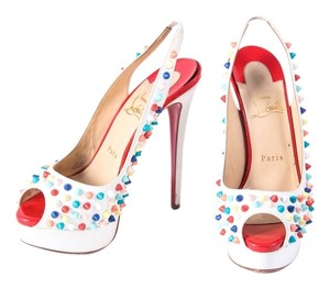 Christian Louboutin Slingback Peep Toe Studs White Leather Multicolor Platforms