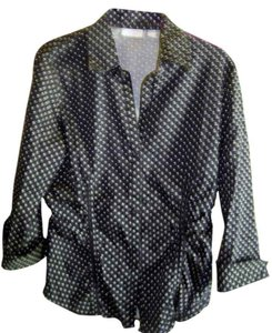 New York & Company & Size M Stretch 3/4 Sleves Stretch And Fitted Button Down Shirt Dark Navy/ Black & white