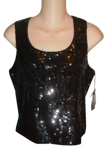 Cyrus Sequins Crop Tank Top black