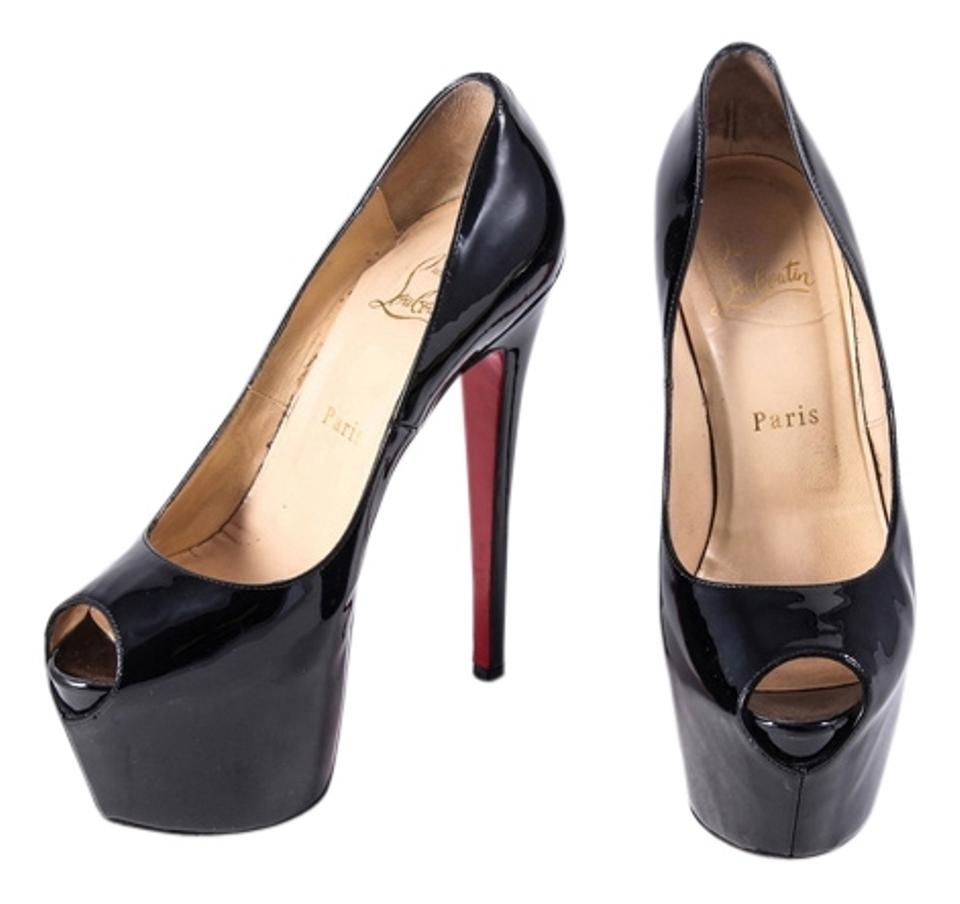 a8fcee922388 Christian Louboutin Black Highness 160mm Peep Toe Patent Leather Pumps  Platforms