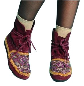 House of Harlow 1960 Moccasin Suede Rocker Festival Beaded Purple Potion Boots