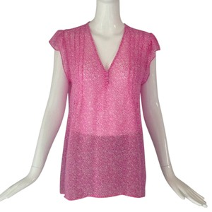 Joie Top Pink & White Print