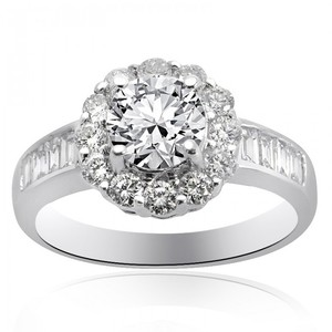 Avital & Co Jewelry 1.97 Carat H-vs2 Natural Round Cut Diamond Halo Engagement Ring 18k-w