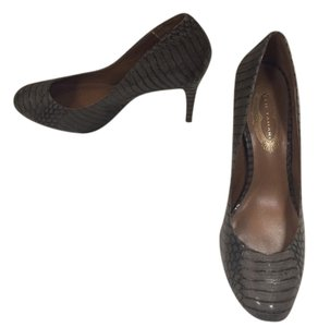 Elie Tahari Smoke Grey Crocodile Pumps Pumps