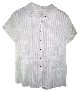 Ann Taylor LOFT Short Sleeve Fitted Body Size 12 Button Down Shirt white with black poka dots