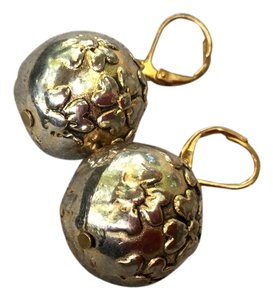 Vintage Gold Colored Spheres Earrings With Floral Design