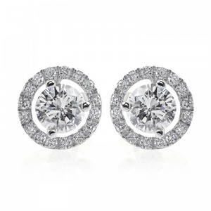 Avital & Co Jewelry 1.28 Carat Diamond Halo Pave Earrings 18k White Gold